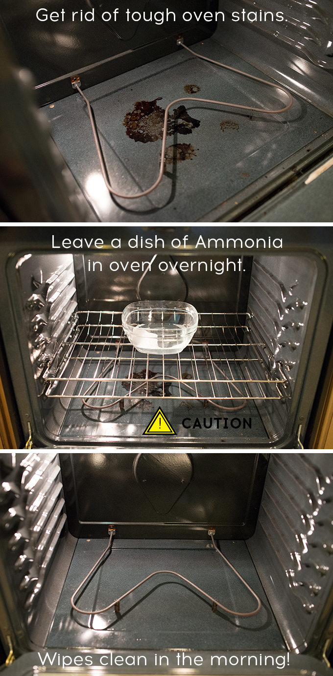 How to clean burnt on food in the oven. Ammonia is powerful stuff, take caution!